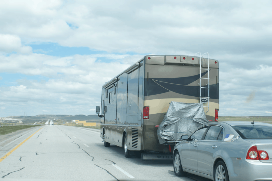 Consider this before towing a car behind motorhome
