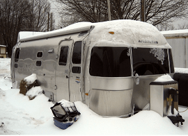 an airstream in winter