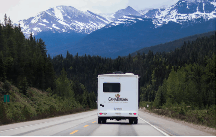 an rv being driven on road