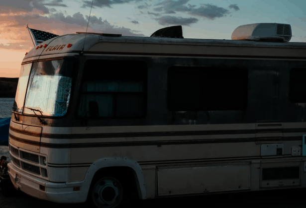 an rv with a roof mounted air conditioner
