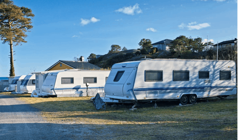 number of travel trailers parked on road side