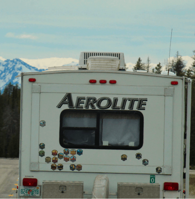 rv air conditioner visible on the roof