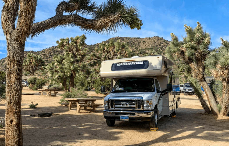 rv parked at a campground