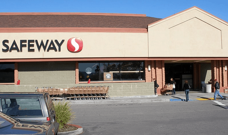 safeway retail store with parking area.