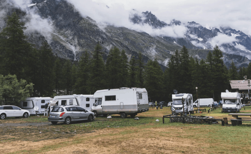 campers parked at a  campground