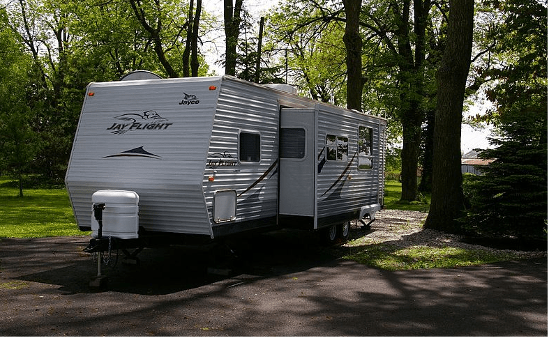 travel trailer its slide out extended